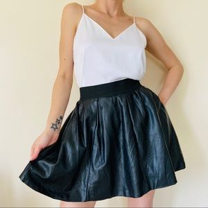 Quinn black faux leather A-line skirt